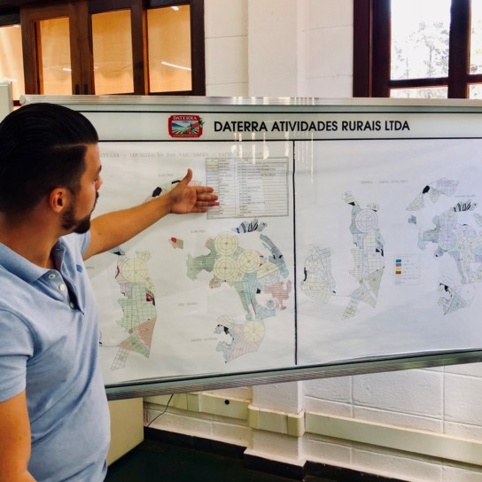 Gabriel explaining varietal spread Daterra