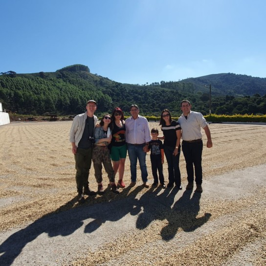 Brazil Coffee Fazenda Palmital patio with group